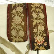 Antique French Needlepoint Panels, Velvet, Flowers, 2 pieces