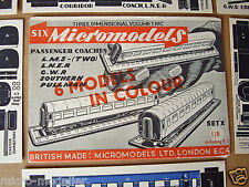 "1949 Vintage Micromodels Set ""X"" Passenger Coaches LMS LNER GWR SR Pullman 1/8"
