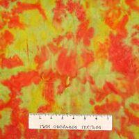 Cotton Quilt Fabric - Bali Batik Fabric Yellow & Orange Patches YARD