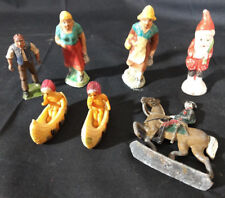Vtg Painted Toy Lot Santa Claus Gnome, Indians In Canoes, Soldier On Horse, Etc