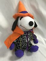 "Peanuts Snoopy Witch Spiderweb United Syndicate 9"" Plush Dog 2263 Halloween"