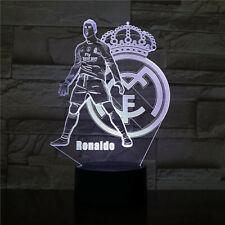 Cristiano Ronaldo + Real Madrid Crest 3D Soccer Led Lamp Futbol Night Light