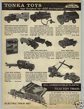 1959 PAPER AD Tonka Toy Truck Hydraulic Dump Pick-Up Boat Trailer Fire Stake