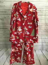 NICK & NORA Christmas Pajama Set Santa Red PJs Size Large Flannel