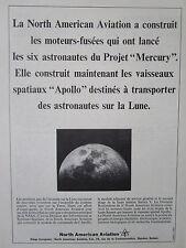 4/1965 PUB NORTH AMERICAN MOTEUR FUSEE MERCURY VAISSEAU APOLLO NASA FRENCH AD