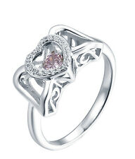 Sterling Silver 925 Pink Sapphire Heart Wing Ring   Size 8
