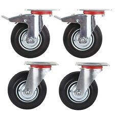 Set 4x125mm Lenkrolle Transportrollen Schwerlastrollen Wheels Gummi