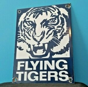 VINTAGE FLYING TIGERS PORCELAIN GAS AVIATION WW2 MILITARY AIRPLANE SERVICE SIGN