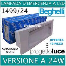 12 PEZZI LAMPADA EMERGENZA BEGHELLI 1499/24 LED 24W PIU' SCATOLA INCASSO