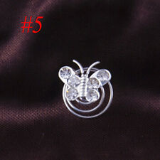 12pcs Bridal Crystal Pearl Flower Spiral Twist Hair Pins Clips Wedding Jewelry