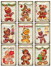 Vintage Image Retro Gingerbread Men Christmas Labels Waterslide Decals CHR227