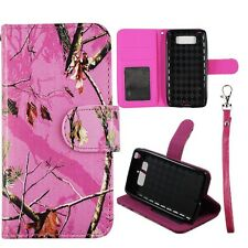 For Motorola Droid mini XT1030 Pink Camo Mozzy PU Leather Wallet Case Cover