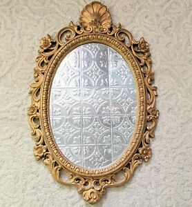 Vintage Gold Ornate Wall Mirror Molded Plastic Baroque Hollywood Regency Oval
