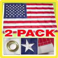 2 Pack 3x5 USA American Nylon Embroidered Stars Sewn Stripes Flag (Made in USA)