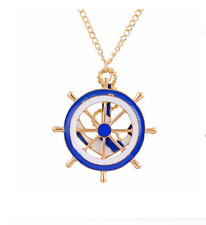 Woman's Retro Vintage Navy Boat Ink Blue Anchor Drop Pendant Necklace for Gift
