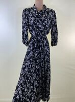 BNWT NEXT black cream ditsy floral print belted midi shirt dress size 10 38 £40