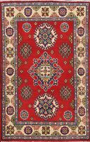 Geometric Super Kazak Oriental Area Rug Hand-Knotted Wool Home Decor Carpet 3x4