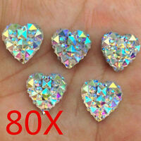 Wholesale 80X Charms Silver Heart Shape Faced Flat Back Resin Beads DIY 12mm /MY