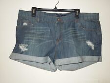 NWOT Revolt Jeans Deconstructed Low Rise Denim Shorts Indigo Wash Size 19