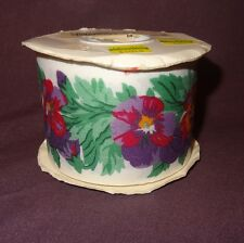"Lion Roll Ribbon Pansies Flowers Pansette Originally 25 Yards 2 5/8""  71524"