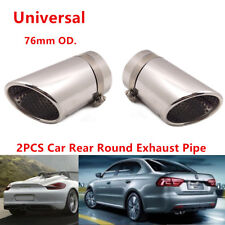 2x 76MM Steel Car Rear Round Exhaust Pipe Tail Muffler Tip With buckle Universal