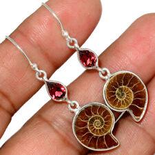 """""""Fossil"""" Ammonite - Madagascar & Garnet 925 Silver Earring Jewelry AE150852"""