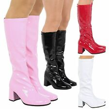 Krista Womens Low Mid Block Heels Knee High Boots Gogo Party Retro Ladies Size