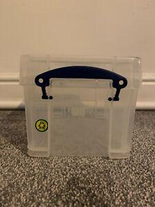 Really Useful Small Clear Plastic 0.3 L Craft Diy Box Blue Handles CD Box