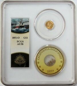 """1851 O GOLD $1 LIBERTY SS CENTRAL AMERICA """"SHIP OF GOLD"""" PCGS ABOUT UNC 58"""