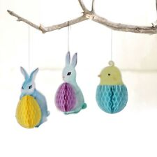 Easter Decor Ornaments Honeycomb Chick Bunny Easter Egg Rabbit Hanging Eggs