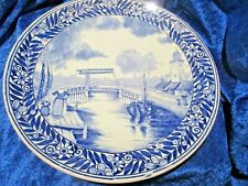 "Delft BOCH Belgium Blue & White Transferware Plate Canal Scene 9 7/8ths"""