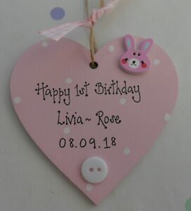 Personalised Baby's First 1st 2nd 3rd any Birthday Gift Heart Plaque keepsake