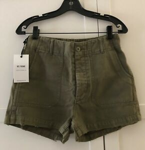 New RE/DONE  Originals  50's  Military Shorts in  Army Green Color, Size 26