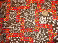 """Vintage Cotton Fabric RED CALICO FLORAL & BROWN PATCHWORK 1-1/2 Yd/44"""""""