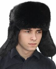 Rabbit Full Fur Russian Ushanka Hat Real Fur Hat Chapka Black XS,S,M,L,XL,XXL