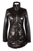 Ladies Venice Black (1310) Knee Length Soft Lambskin Leather Jacket Trench Coat