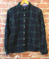 Tommy Hilfiger M Flannel Shirt Blouse Top Green Plaid Long Sleeve Collared
