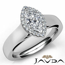 Marquise Cut Diamond Halo Prong Engagement Ring GIA E VS1 18k White Gold 0.92Ct