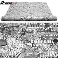 Fits Sticker Bomb Cartoon Car Vinyl Wrap Custom Black White JDM 15X59 Inch