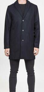 RVLT REVOLUTION Men 7504 Melton 55% Wool Blend Coat Overcoat Dark Navy L 50 Us40