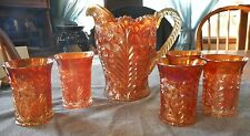 IMPERIAL MARIGOLD CARNIVAL GLASS TIGER LILY PATTERN 6 PC WATER SET