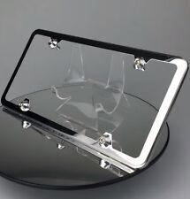 Slim 4 Hole Polished Chrome License Plate Frame w/ Aluminum Circle Type Caps