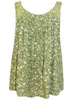 Ladies Sleeveless Summer Blouse Top plus size 18/20 20/22 Green Print Vest PS216