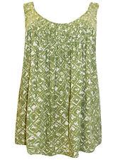 Ladies Sleeveless Green Blouse Top plus size 18/20 20/22 Print swing Vest PS216