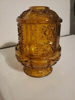 "Vintage Indiana Amber Glass Fairy Lamp Light  Stars and Bars Candle 7"" H"