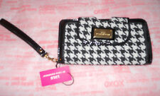 Lulu Guinness Black White Houndstooth Wristlet Wallet Purse Clutch *new*