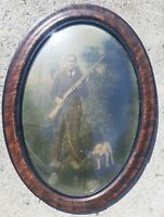 "Antique Oval Framed Man With Shotgun & Hunting Dog 22.5"" X 16.75"" Gun Picture"