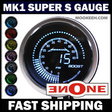 MOOKEEH TINTED BLUE RED GREEN YELLOW WHITE COLOR LED TURBO BOOST GAUGE METER