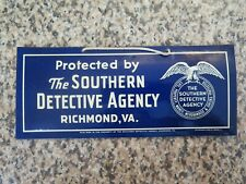 ANTIQUE DETECTIVE SIGN WHITEHEAD HOAG CO. THE SOUTHERN DETECTIVE AGENCY VIRGINIA