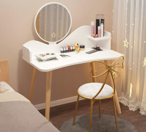 Modern Dressing Table Vanity Makeup Desk w/ Mirror Bedroom Study Computer White